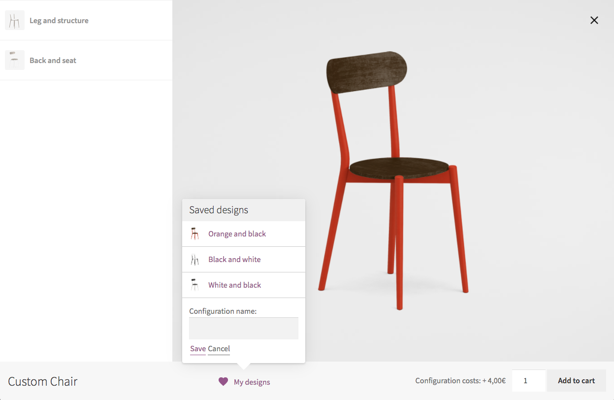 Product configurator for WooCommerce - Saving a design