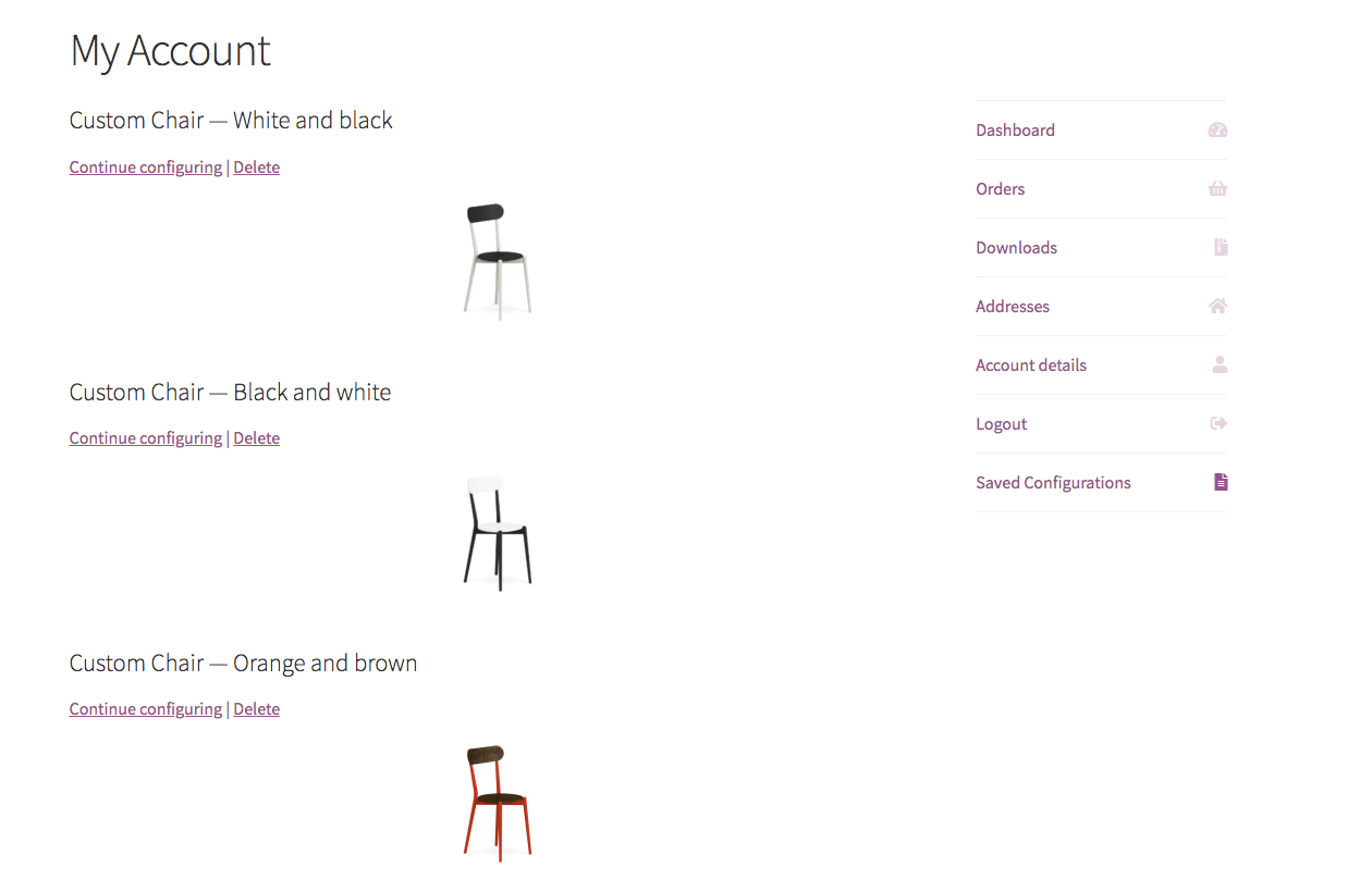 Product configurator for WooCommerce - Design list